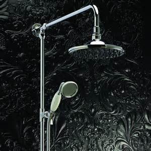 chrome traditional rigid riser overhead shower