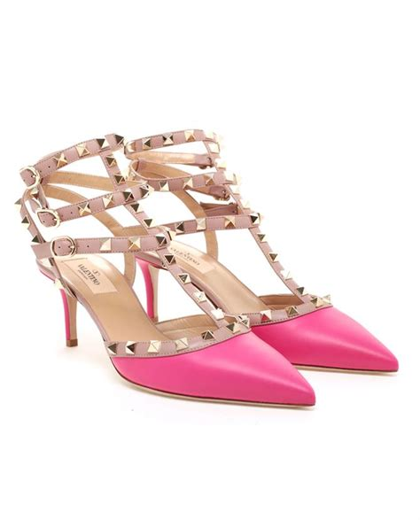 valentino studded leather kitten heels in pink lyst