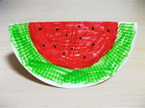 Watermelon Paper Craft - summer watermelon paper plate craft preschool crafts for