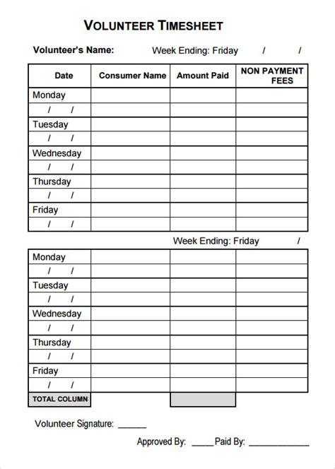 o m template sle volunteer timesheet 9 exle format