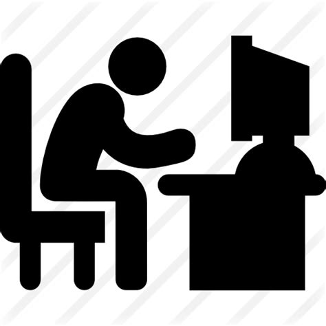 long white desk man typing on computer desk free computer icons