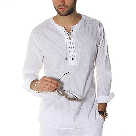 Envy Lace up tunic V neck white beach shirt : Destination Wedding Shirts