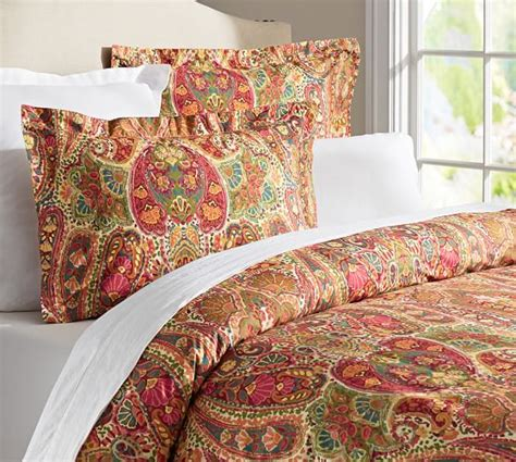 pottery barn paisley bedding rosalie paisley duvet cover sham red pottery barn