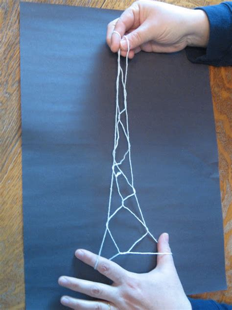 Step By Step String - almost unschoolers the eiffel tower string trick step