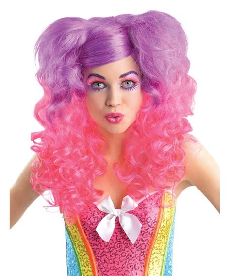 Dress Pink Curly perry pink purple wig curly bunches