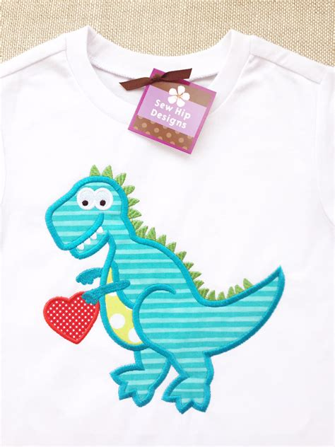 design t shirt next day delivery next day shipping applique valentine dinosaur t rex with
