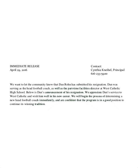 Coaching Resignation Letter by 8 Coach Resignation Letters Free Sle Exle Format Free Premium Templates