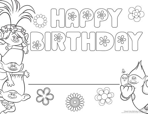 happy birthday poppy coloring pages print branch and poppy trolls coloring pages coloring