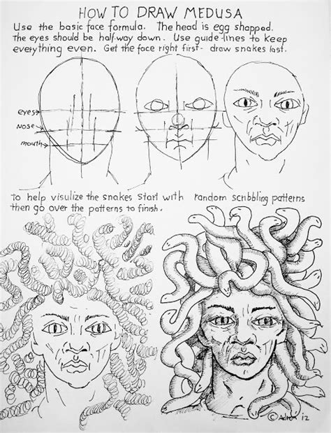 doodle how to make medusa how to draw worksheets for the artist how to draw