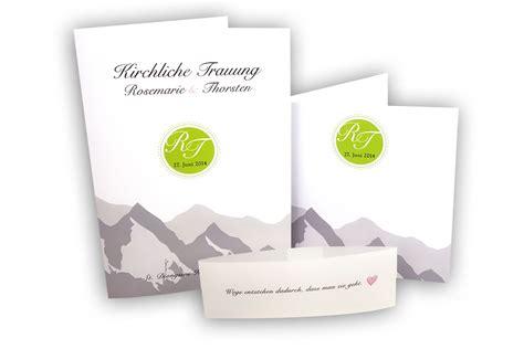 Hochzeitseinladung Berge by Kirchenprogramm Und Einladung Zur Hochzeit Aus Einem Guss