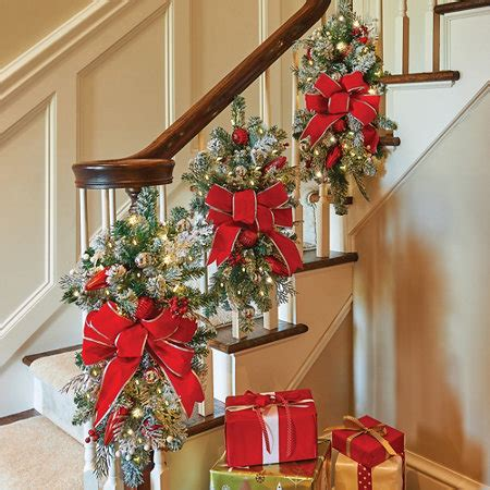 christmas swag lights decorations let it snow lighted christmas staircase swag improvements