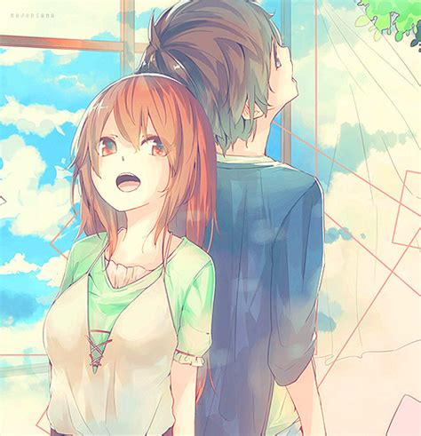 anime boy and girl best friends love tree happy anime sky friends draw anime girl anime