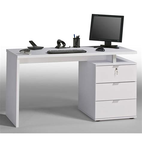 Beama Desk 1400mm Icy White High Gloss White Staples 174 White Desk Staples