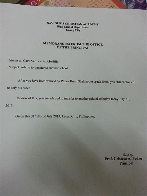 Transfer Request Letter To Another Department 3 students expelled for speaking ilocano in ilocos norte