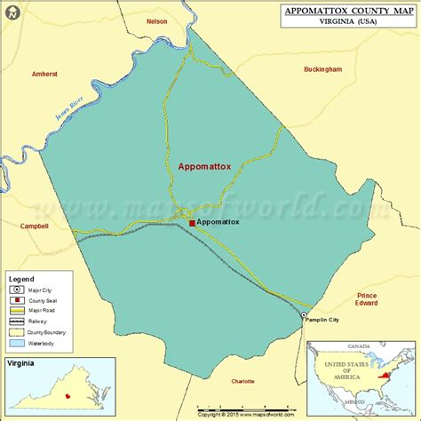 virginia map in usa appomattox county map virginia