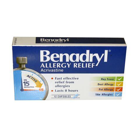 benadryl for allergies benadryl allergy relief acrivastine 12 caps hayfever and allergy meds multipharmacy