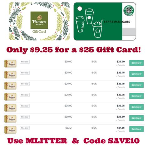 Panera Gift Card Deal - restocked panera cards only 9 25 for a 25 card