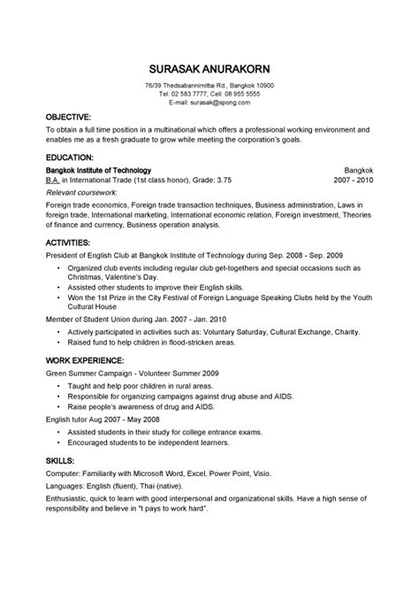 Basic Resume Sle Format by Doc 12751650 Resume Exles Basic Resume Templates Sle Free Free Basic Bizdoska