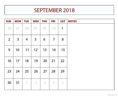 Calendar 2018 Customized September 2018 Calendar Labor Day Printable Calendar