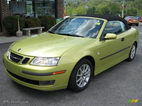 lime yellow metallic 2005 saab 9 3 arc convertible