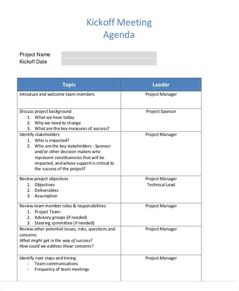 kick meeting agenda template kick agenda sles 6 free word pdf format
