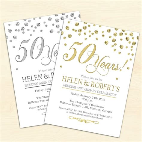 50 anniversary invitations templates 50th wedding anniversary invitations wedding invitation