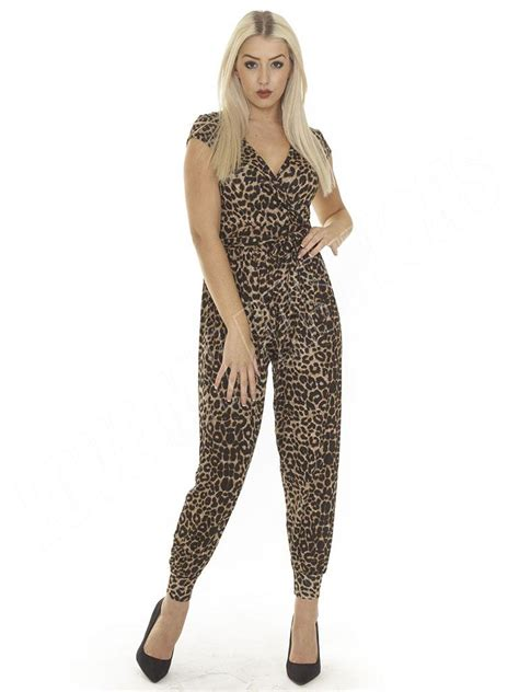 Jumpsuit Animal Print new womens animal leopard print all in one jumpsuit