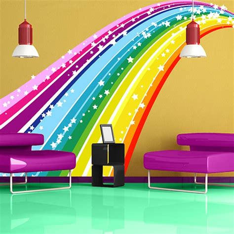 rainbow wall stickers rainbow bridge wall sticker large colourful wall decor