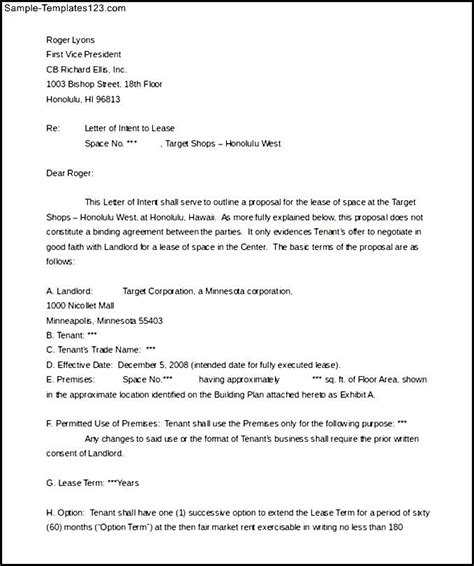 Intent To Lease Letter Writing And Editing Services Letter Of Intent On Lease