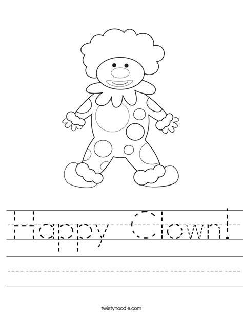 Clown Worksheets by Happy Clown Worksheet Twisty Noodle
