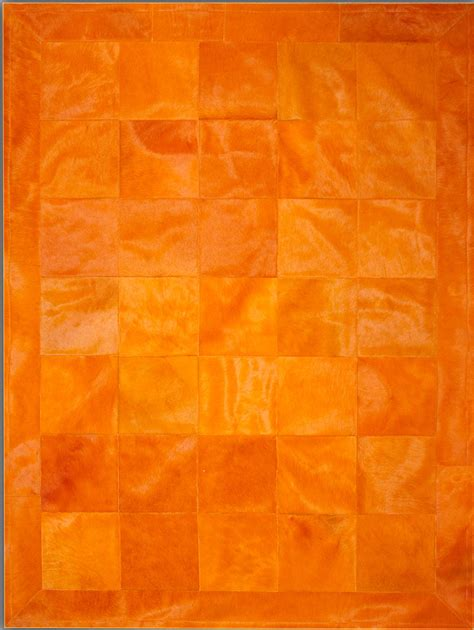 Orange Modern Rug with Orange Border Cowhide Rug From The Cowhide Rugs Collection At Modern Area Rugs