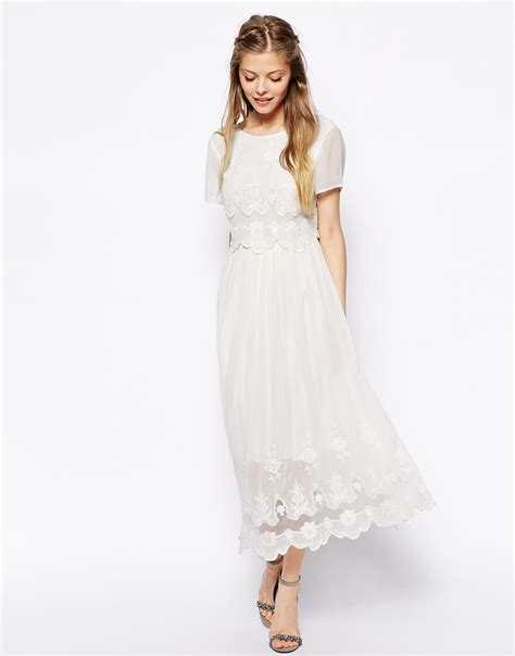 White Vintage Dress lyst asos vintage midi dress with cutwork and overlay