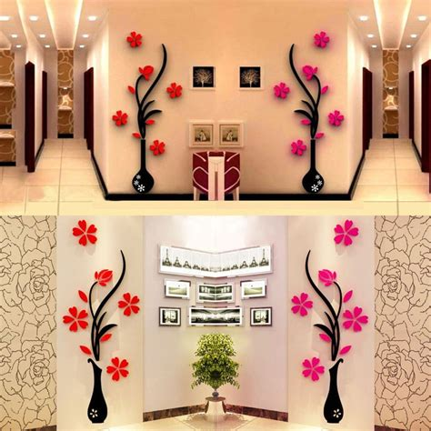 home interior wall decor 3d vase removable flower tree crystal acrylic wall sticker