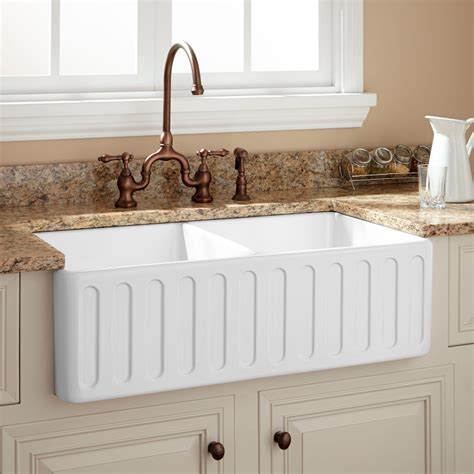 33 quot northing double bowl fireclay farmhouse sink white kitchen