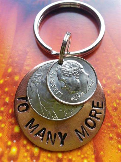 15 year anniversary lucky in love keyring copper by tiffyslove