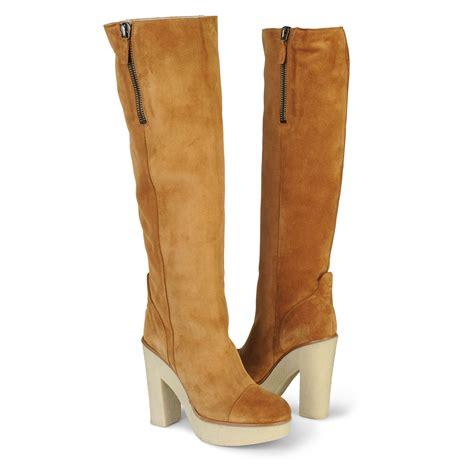 kurt geiger waterloo knee high boots in brown lyst