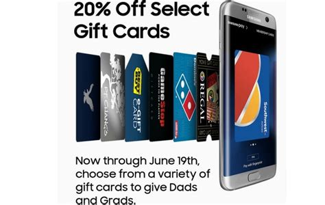 Samsung Gift Card Promotion - get 20 percent off select gift cards with samsung pay pocketnow