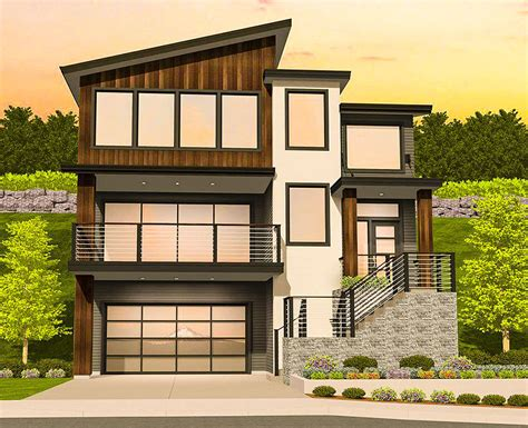 modern house plans for narrow sloping lots modern house modern house plan for a sloping lot 85184ms