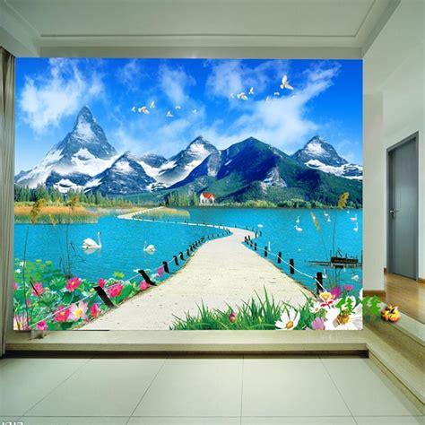 Bedroom Landscape 3d Wallpaper Bedroom Mural Modern Landscape Scenery Tv