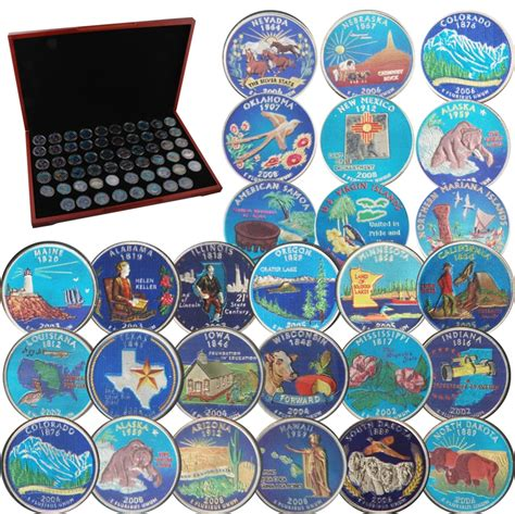 colored quarters 1999 to 2009 state quarter collection colorized with