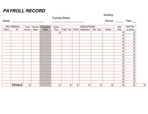 payroll record template printable payroll ledger blank payroll record pdf