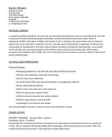 Manager Resume Skills by Sle Property Manager Resume 8 Exles In Word Pdf