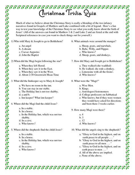 printable quiz 7 best images of christmas printable trivia with answers
