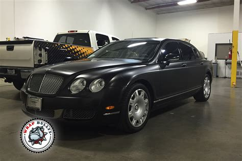 bentley wrapped bentley continental flying spur satin black car wrap