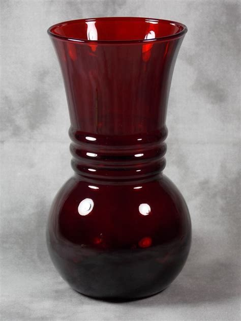 Ruby Glass Vase by Mint Vintage Anchor Hocking Royal Ruby Depression