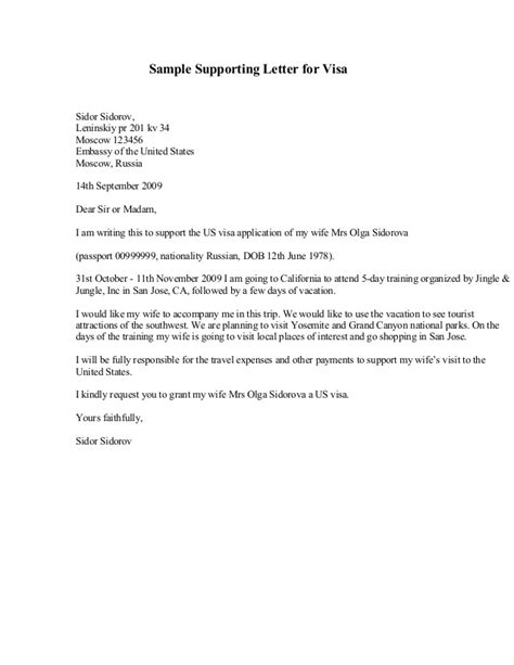 Letter Of Support For Visa Visa Support Letter