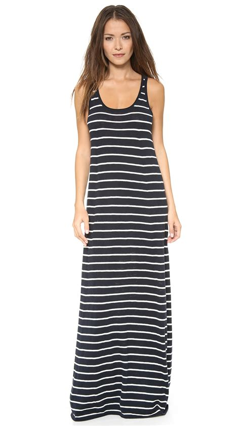 Maxi Stripe vince striped maxi dress in gray coastal sailcloth lyst