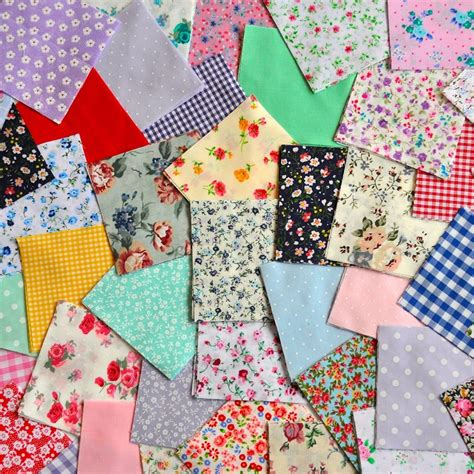 Patchwork Squares - 5 fabric patchwork squares charm pack for craft quilting