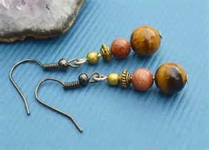 Simple Handmade Earrings - simple gemstone earrings handmade with tigers by