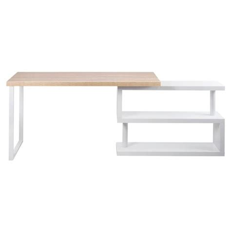 Corner Desk White Wood Wood Corner Rotating Office Desk Bookshelf White Buy Furniture
